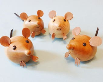Mice. wooden mice lathe turned