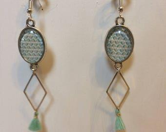 Earrings green cabochon of water