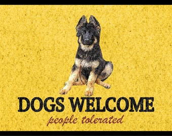 Your Own Dog Cut Out On Doormat - Dogs Welcome People Tolerated Doormat