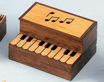 Upright Piano Wooden Jewelry Box Hand Crafted