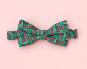 Green giometric shweshwe bow tie