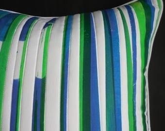 Hand Printed Square Cushion Blue