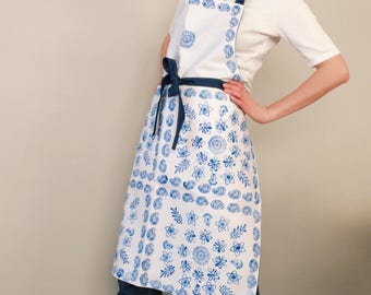 Indian Block Print Apron Blue and White