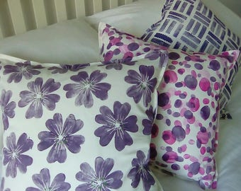 Set of Three Cushions, Block Printed, Handmade, purple, pink