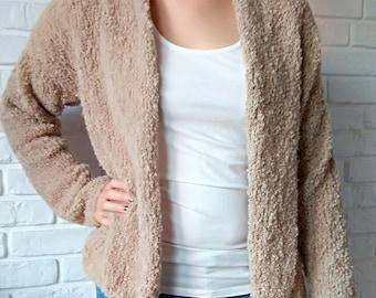 Hand Knit Sweater Alpaca Boucle Beige for Women