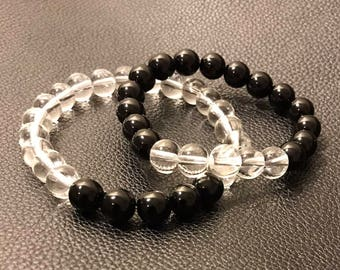 8mm Black and Clear beaded stretch bracelet set