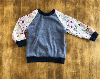 Toddler Sweatshirt Blue and Floral