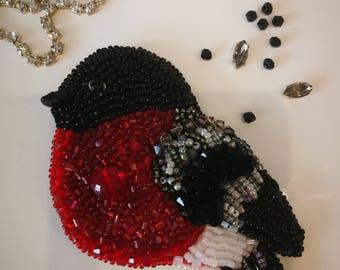 Handmade brooch Bird pearl brooch