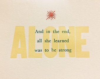 Alone Letterpress Print