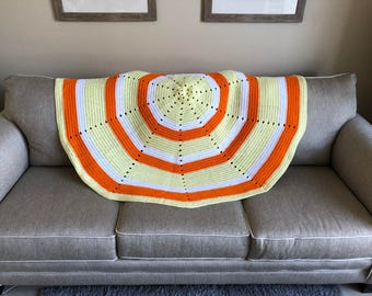Orange, Yellow & White Circle Afghan