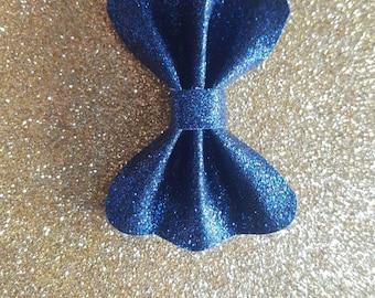 Navy blue glitter bow