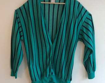 Bright Teal Striped Cardigan