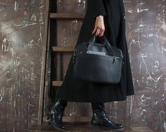 Black laptop tote,Leather Tote gift,Black Laptop Leather Tote,Leather school Tote,Leather Laptop bag,MacBook Pro Bag,Leather MacBook bag
