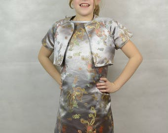 Oriental satin dress and Jacket