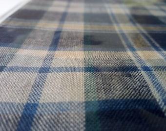 "Woven 100% Cotton Blue, Beige & Yellow Tartan Fabric Sample 43"" x 31"""