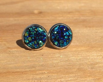 Psychedelic Blue: Faux Druzy Stud Earrings