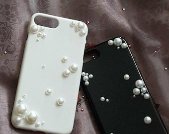 30% OFF (was 45) iPhone 6, 6+, 7(8), 7+(8+) Handmade Bubble Pearl Wedding Phone Case (Bride & Groom)