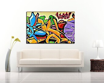 GM 15 - Streets To Canvas - Custom Graffiti Name Sign, Graffiti Art Canvas Print, Personalized Canvas Wall Art, Abstract Graffiti Canvas