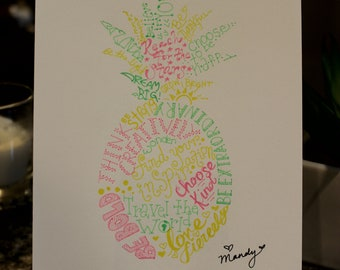 hand drawn inspirational word art pineapple