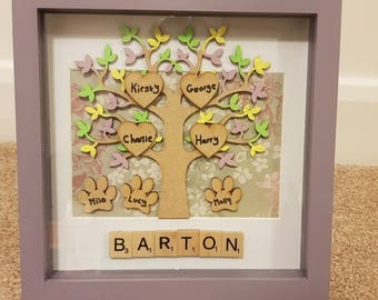 Family Tree Picture, Family Tree Scrabble Picture, Mothers Day, Lovely gift