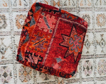 Red Star Eclectic Vintage Moroccan Floor Cushion Pouf Sofa Cover Boujaad Kilim
