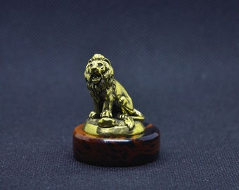 Art Deco Patinated Pure Bronze Animals Leo Lion Miniature Sculpture Statue Statuette Figure Figurine With Fine Details On Obsidian Stand