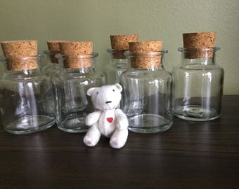 Vintage clear glass storage containers with cork lid set of 6