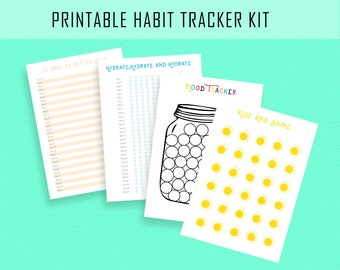 Printable Habit tracker, Instant download, Monthly habit, A2, A4, US letter, Scale to any size, Mood tracker, Early riser, Hydrate