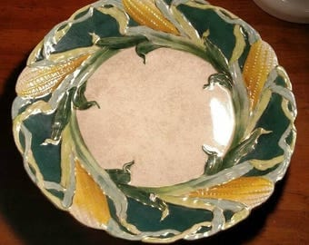 """Antique La BELLE CHINA Wheeling Pottery (WP) Corn Serving Platter 12"""" Green Gold Yellow Blue White Vintage Collectible Plate"""