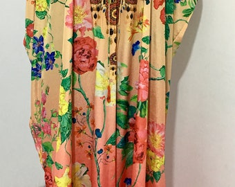 Long  Kaftan Dress in Floral Print Silk Kaftans, Long Kaftans_dresses, Floral Print Kaftan Dresses, Handmade Kaftan Dresses