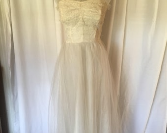 40s Lace and Tulle Dress