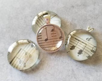 Sheet Music Decorated, Magnets, Necklace Pendant, Cabochon