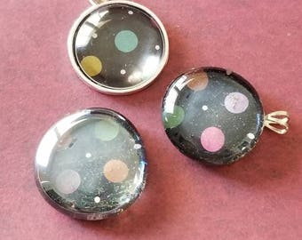 Circle and Dot Decorated, Magnet, Necklace Pendant, Cabochon