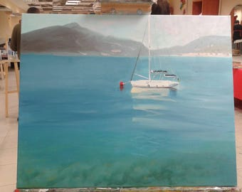 Sailing boat/yacht, Montenegro, oil painting on canvas 40x50, original, maritime motive, signed by the artist