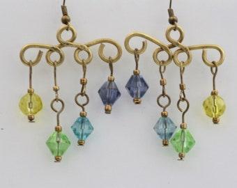 Colourful Rainbow Brass Wire Dangle Earrings
