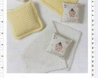 Baby Blankets and Cushion collection vintage knitting pattern -Immediate download