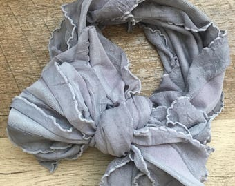 Grey Ruffle Bow
