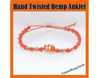 Orange Hemp Anklet with Glass Beads