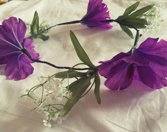 Purple hibiscus flower crown