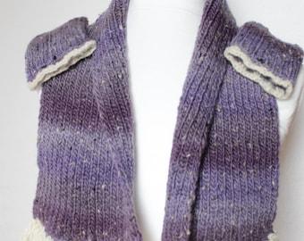 Scarf with cuffs, handmade, 100% wool, lilac/gedecktweiss-mottled