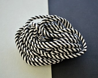 Black and White Stripe Plaited Cord - Braided Rope - Striped Trim for DIY Craft - Jewellery Supplies