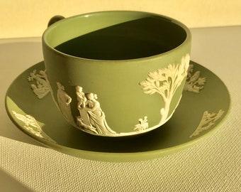 Vintage Wedgwood Jasperware Green / Celdaon Cup and Saucer