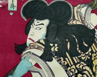 TOYOHARA KUNICHIKA meiji danjuro original authentic Japanese Ukiyo-e-print