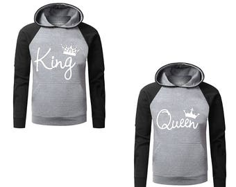 Two Color Hoodies for Couple King And Queen , Matching Couple Goal Raglan Gray-Black Hoodies, His And Her Hoodies Popular Designs