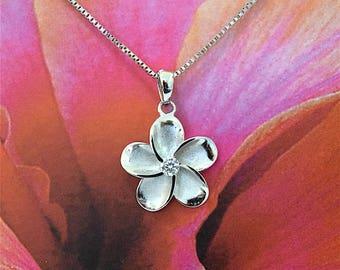 5 pcs, Plumeria Pendant, Wholesale Priced Plumeria Pendant, Sterling Silver Plumeria W. CZ Pendant, W2001 Hawaiian Jewelry