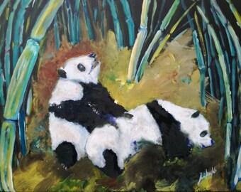 Pandas and bamboo (orig. Pandi in bambus)