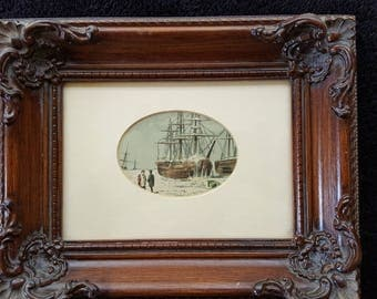Antique litho print of 19th Century Arctic Expedition