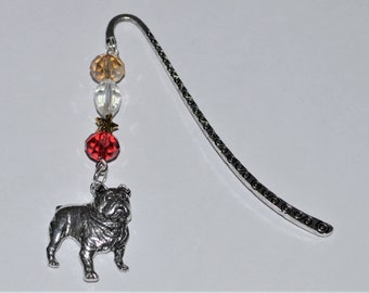 British Bulldog Dog Bead Bookmark in English Pewter and Gift Boxed