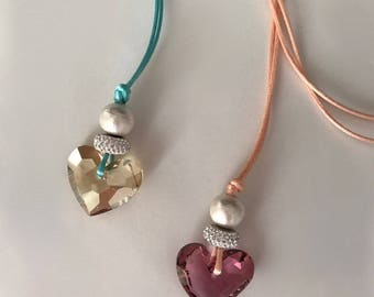 Swarovski crystal heart charm necklace