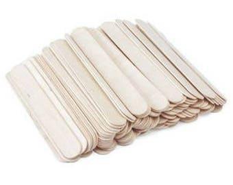 50 Wooden JUMBO Lollipop Craft Sticks Spatula Natural 150mm x 19mm